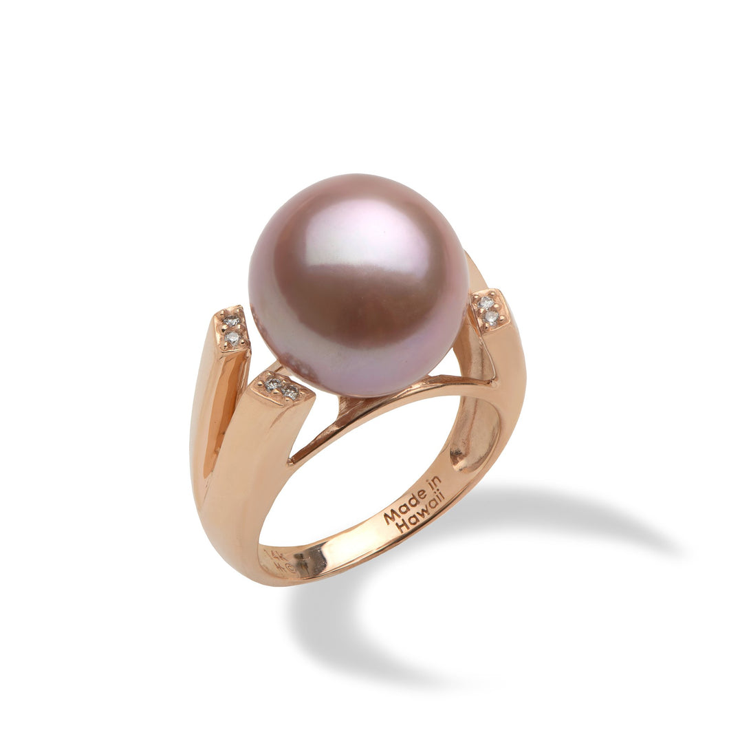 Lilac Freshwater Pearl Ring with Diamonds in 14K Rose Gold (13-14mm)