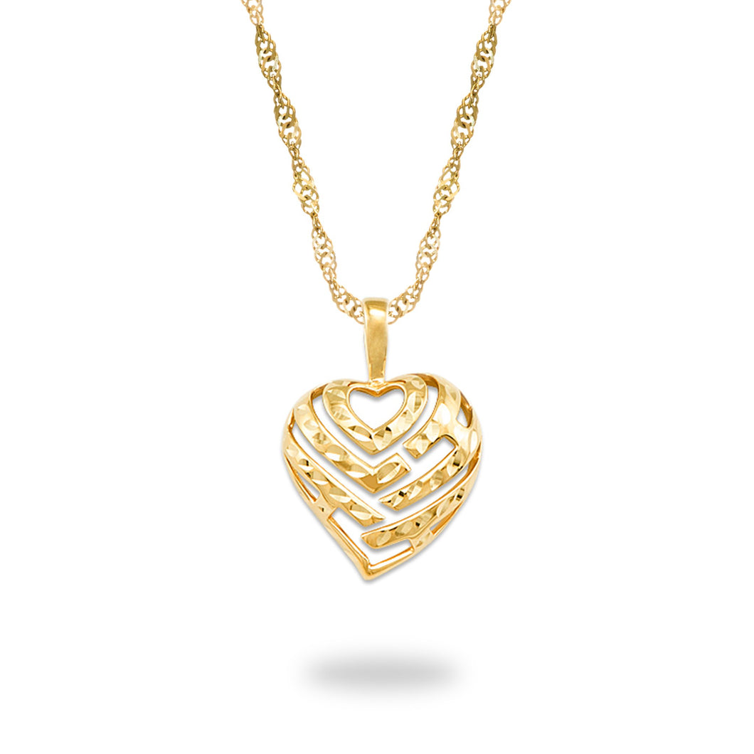 Aloha Heart Pendant and Chain in 14K Yellow Gold Set