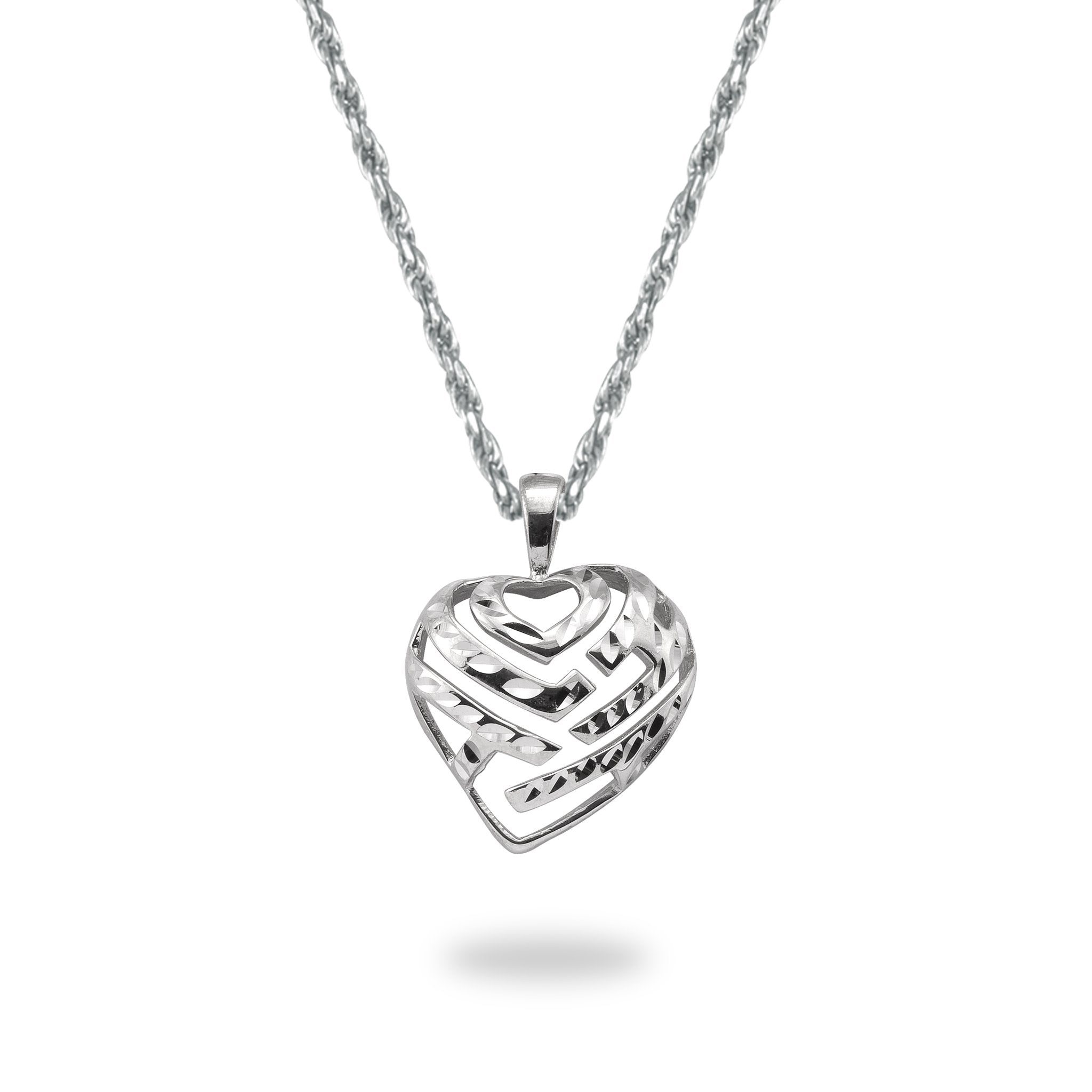 Aloha heart pendant and chain in 14k white gold set mozeypictures Gallery