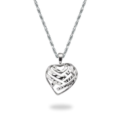 Aloha Heart Pendant and Chain in 14K White Gold Set