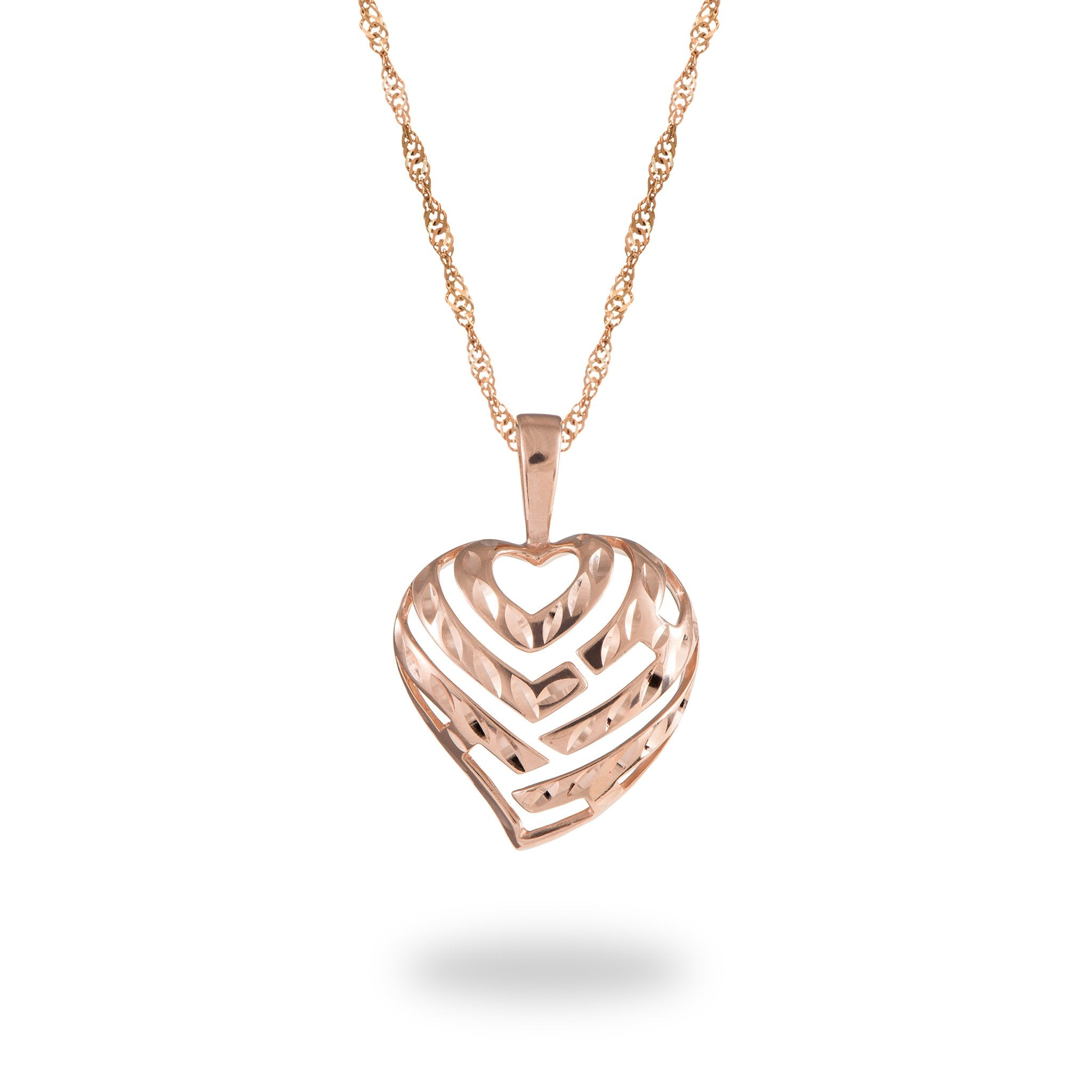 Maui divers neck chain collection aloha heart pendant and chain in 14k rose gold set mozeypictures Gallery