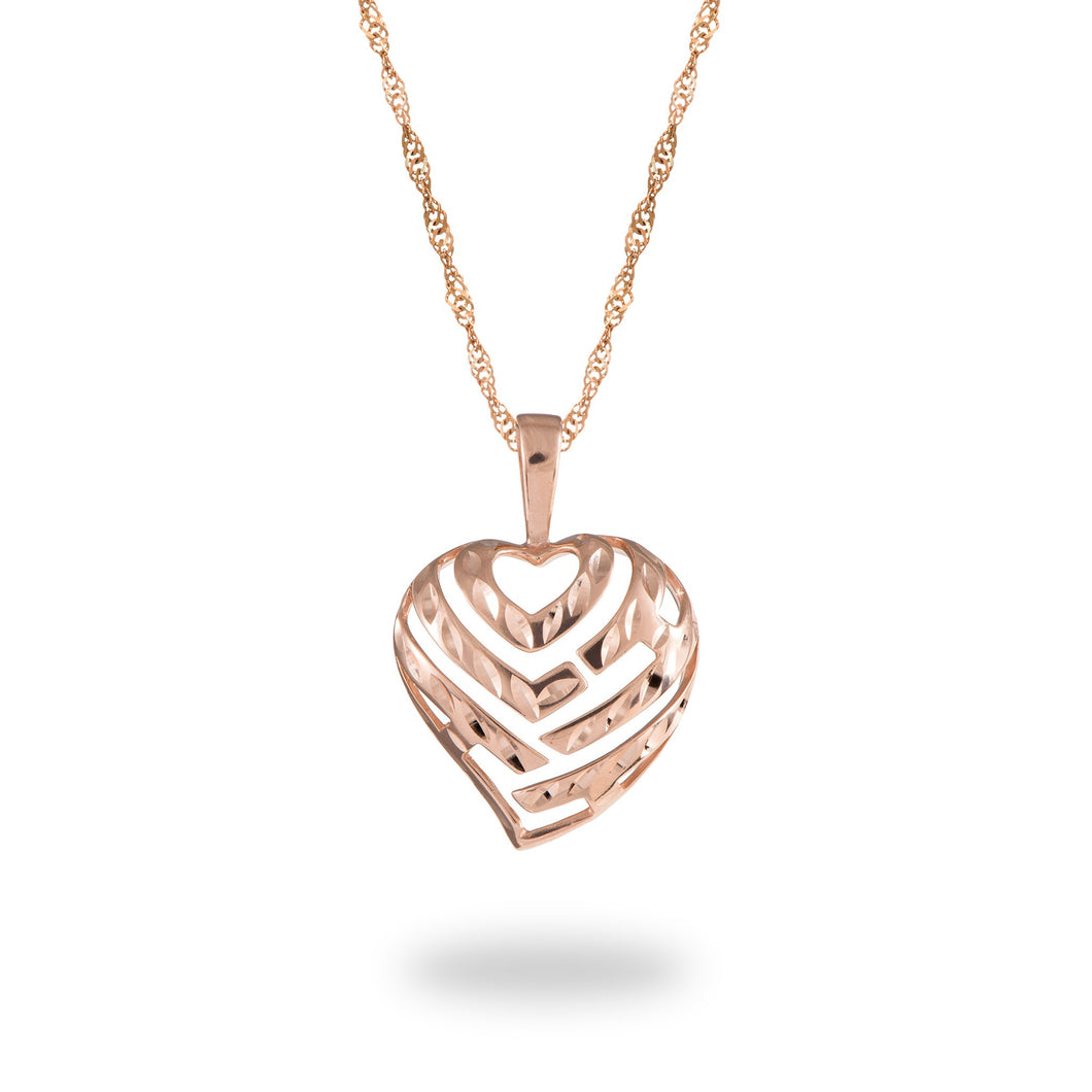 Aloha Heart Pendant and Chain in 14K Rose Gold Set