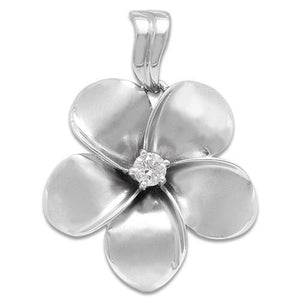 PUFFED PLUMERIA PENDANT WITH DIAMOND IN 14K WHITE GOLD
