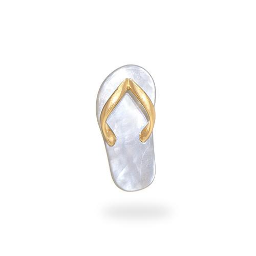 Mother of pearl slipper pendant in 14k yellow gold medium mozeypictures Image collections