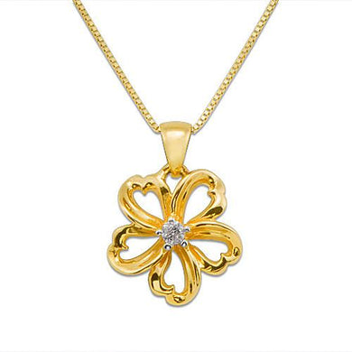 Plumeria Necklace with Diamond in 14K Yellow Gold - 14mm
