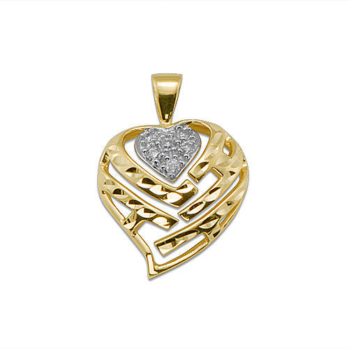 Aloha heart pendant with diamonds in 14k yellow gold 18mm aloha heart pendant with diamonds in 14k yellow gold 18mm mozeypictures Images