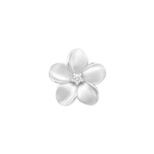Plumeria Pendant with Diamond in 14K White Gold - 16mm