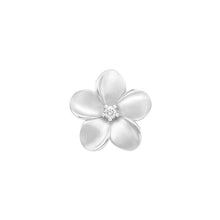 画像をギャラリービューアに読み込む, PUFFED PLUMERIA PENDANT WITH DIAMOND IN 14K WHITE GOLD