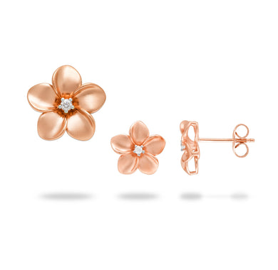 Plumeria Pendant and Earrings with Diamonds in 14K Rose Gold Set