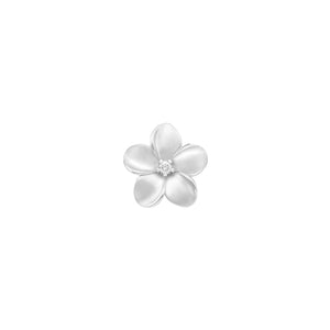 Plumeria Pendant with Diamond in 14K White Gold - 13mm