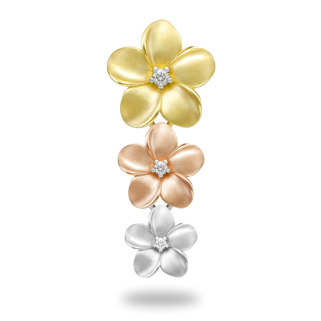 Plumeria Pendant in 14K Tri-Color Gold - 16-11mm