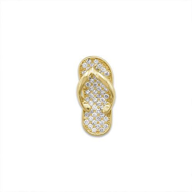 Slipper Pendant with Diamonds in 14K Yellow Gold - Medium