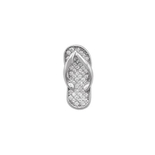 Slipper Pendant with Diamonds in 14K White Gold - Medium