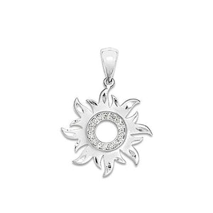 Sun Pendant with Diamonds in 14K White Gold - 17mm