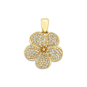Plumeria Pendant with Diamonds in 14K Yellow Gold - 19mm