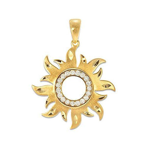 SUN PENDANT WITH DIAMONDS IN 14K YELLOW GOLD
