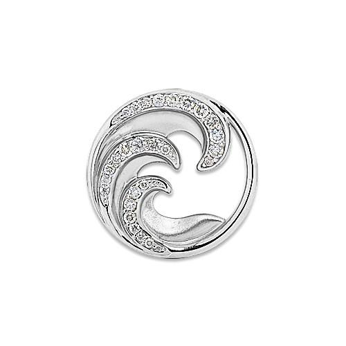 Nalu Pendant with Diamonds in 14K White Gold - 22mm