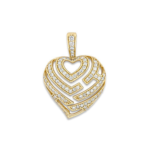Aloha Heart Pendant with Diamonds in 14K Yellow Gold - 18mm
