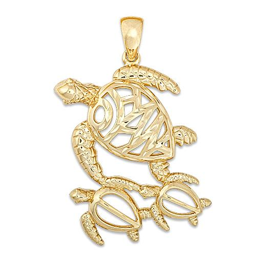 Ohana Turtle Pendant in 14K Yellow Gold - 25mm