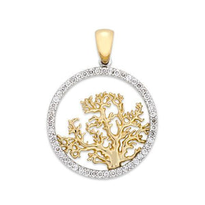 CORAL TREE PENDANT WITH DIAMONDS IN TWO-TONE GOLD