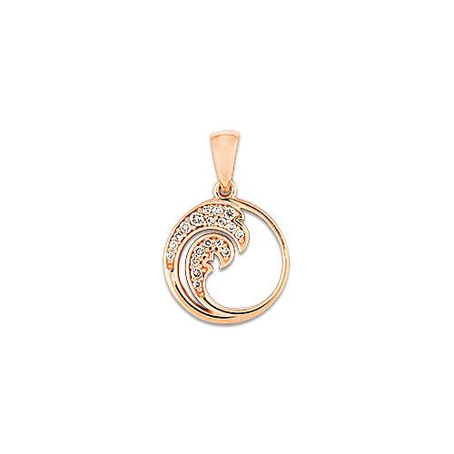 Nalu Pendant with Diamonds in 14K Rose Gold - 12mm