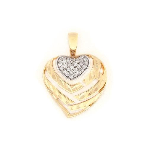 Aloha heart pendant with diamonds in 14k yellow gold mozeypictures Image collections