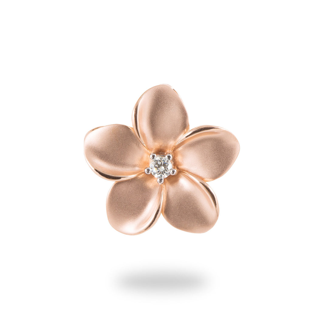 PLUMERIA PENDANT WITH DIAMONDS IN 14K ROSE GOLD - 20MM