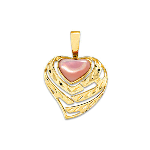 Aloha Heart Pendant with Mother of Pearl in 14K Yellow Gold - 18mm