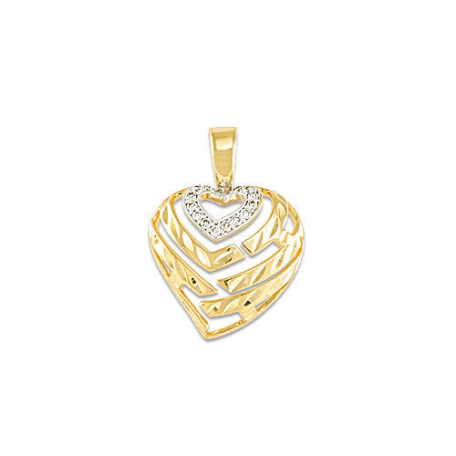 Aloha Heart Pendant with Diamonds in 14K Yellow Gold - 15mm