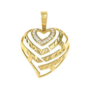 ALOHA HEART PENDANT WITH DIAMONDS IN 14K YELLOW GOLD