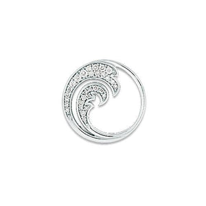 Nalu Pendant with Diamonds in 14K White Gold - 18mm