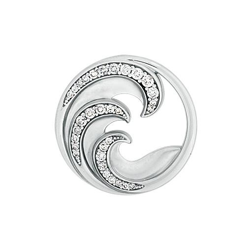 Nalu Pendant with Diamonds in 14K White Gold - 24mm