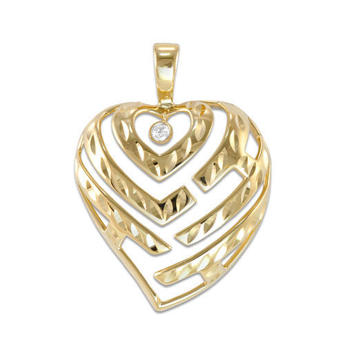 Aloha Heart Pendant with Diamond in 14K Yellow Gold - 24mm