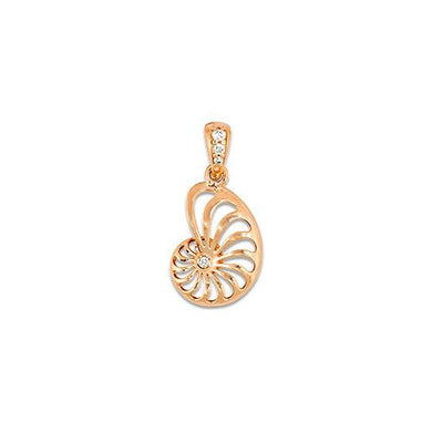 Nautilus Pendant with Diamonds in 14K Rose Gold - 12mm