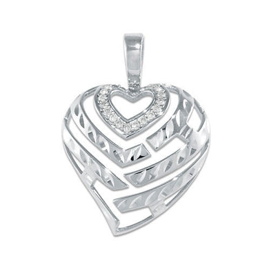 Aloha Heart Pendant with Diamonds in 14K White Gold - 24mm