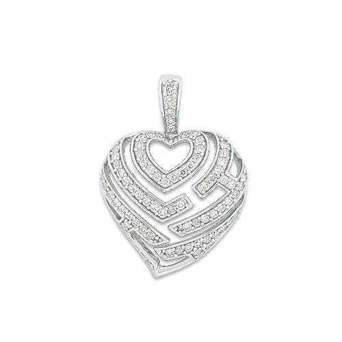 Aloha Heart Pendant with Diamonds in 14K White Gold - 18mm