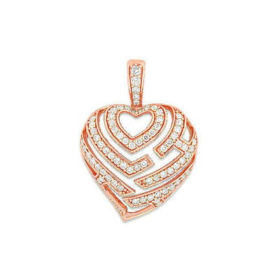Aloha Heart Pendant with Diamonds in 14K Rose Gold - 18mm