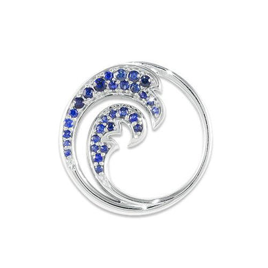 Nalu Pendant with Sapphires in 14K White Gold - 24mm
