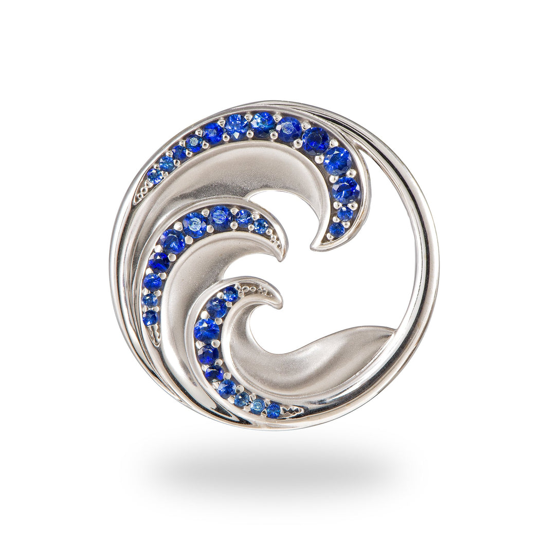 Nalu Triple Wave Pendant with Blue Sapphires in 14K White Gold - 24mm