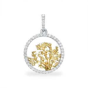 Coral Tree Pendant with Diamonds in Two-Tone Gold - 18mm