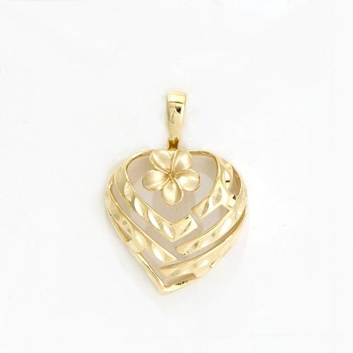 Aloha heart pendant with plumeria flower in 14k yellow gold 18mm mozeypictures Choice Image