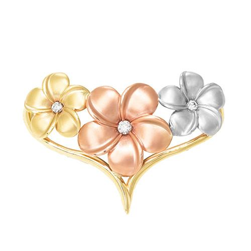 Tri-color Plumeria 14K yellow, rose, and white-gold pendant/slide