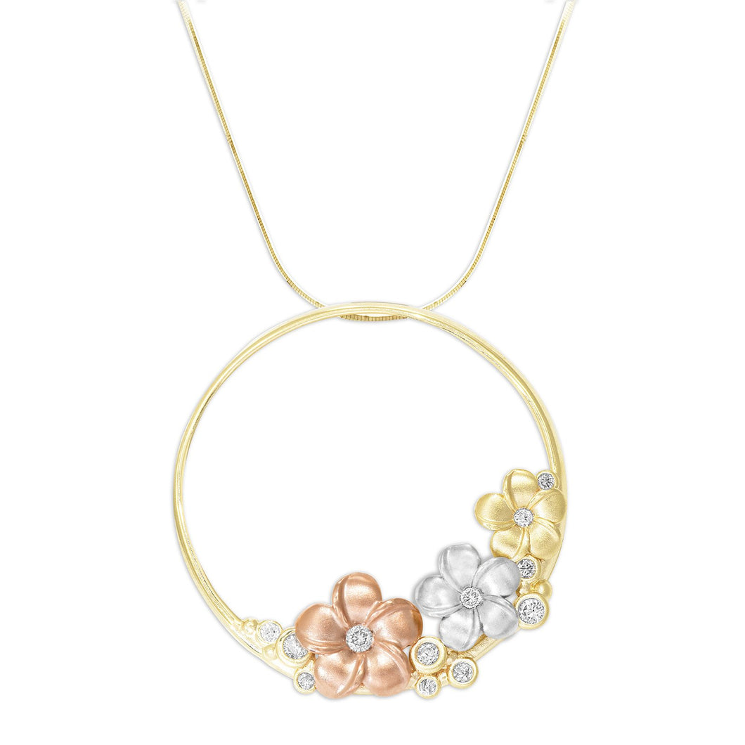 Infinity Circle with Tri-color Plumeria 14K yellow, rose, and white-gold pendant