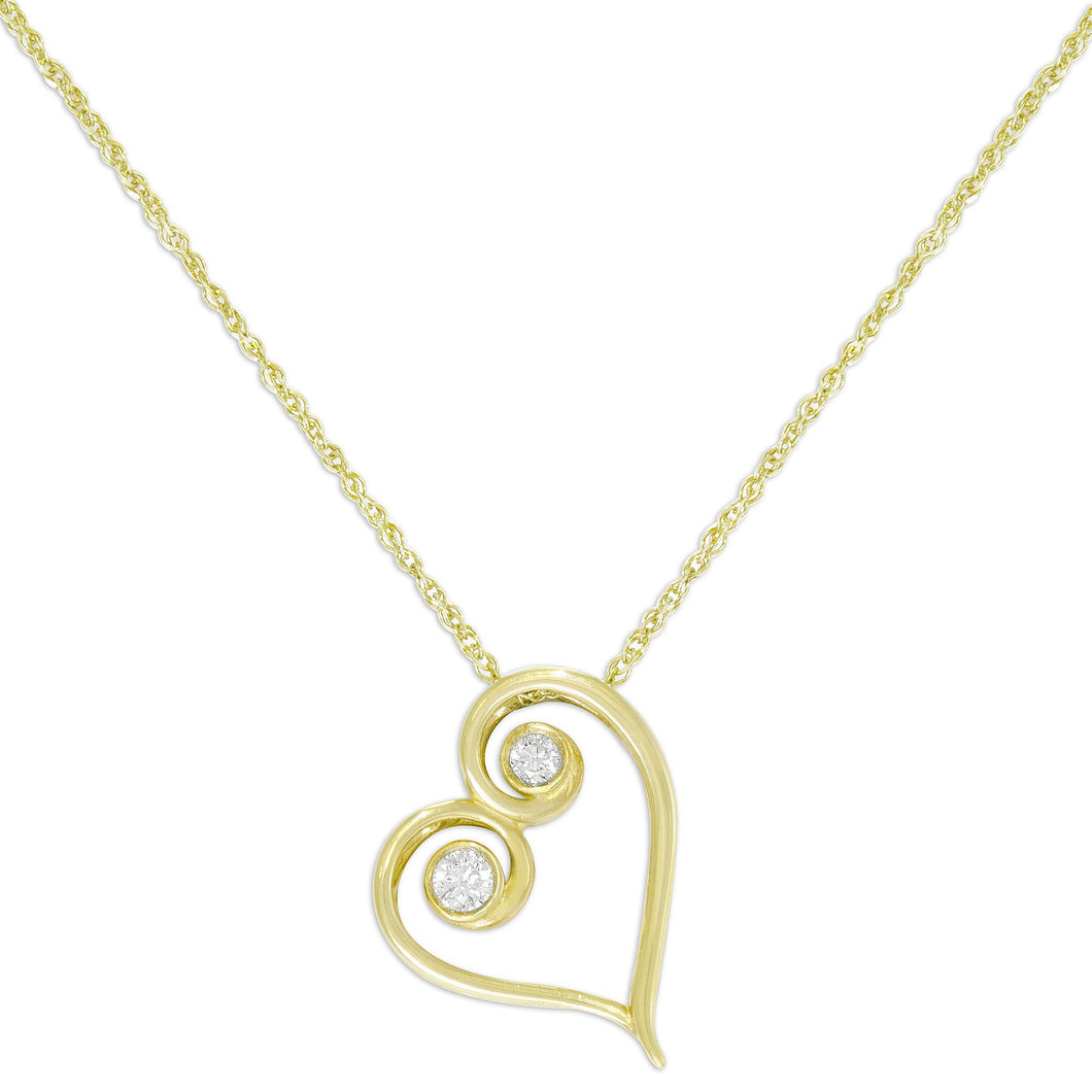 Living Love Necklace with Diamond in 14K Yellow Gold