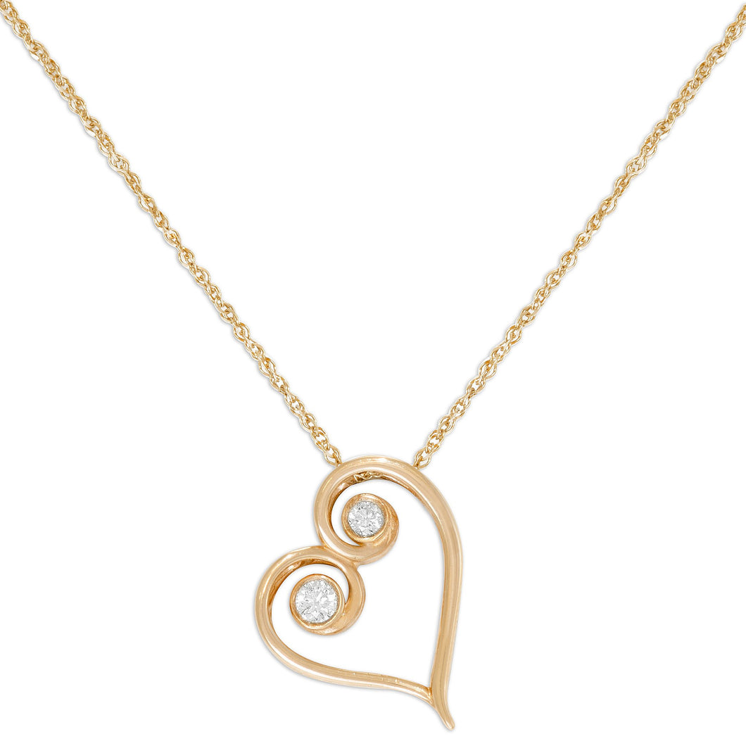 Living Love Necklace with Diamond in 14K Rose Gold - 15mm