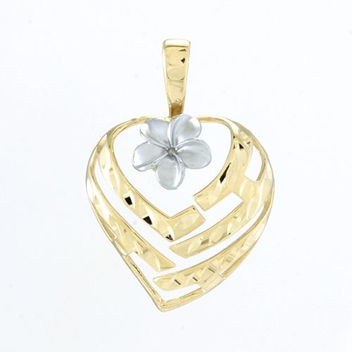 Aloha Heart Pendant with Plumeria Flower in 14K Yellow and White Gold - 18mm