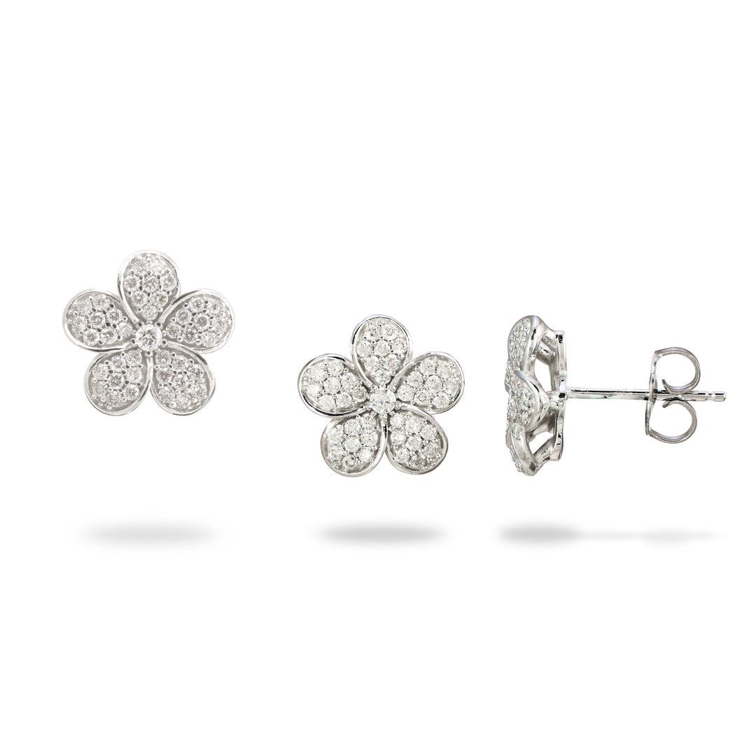 Plumeria Pendant and Earrings with Diamonds in 14K White Gold Set