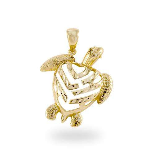 Aloha Turtle Pendant in 14K Yellow Gold - Small
