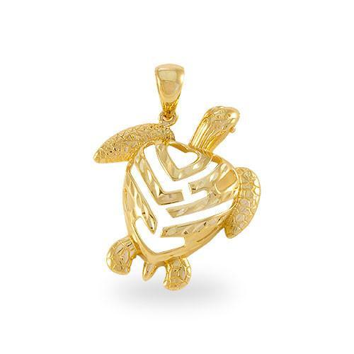 aloha honu turtle pendant in 14k gold small mozeypictures Images