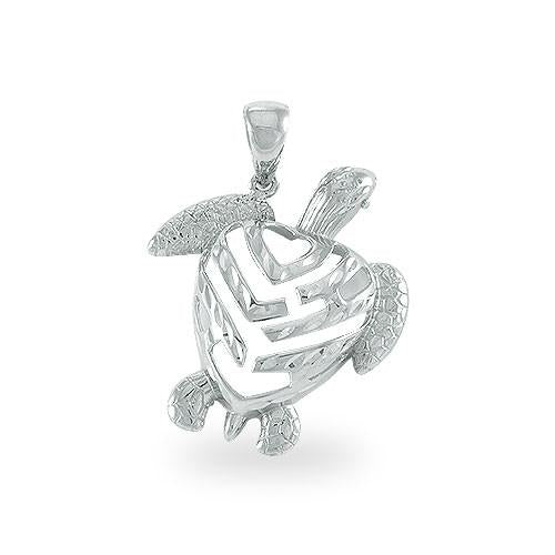 Aloha Heart Turtle Pendant in 14K White Gold - Small